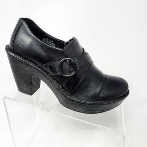 Born Black Leather Zip Up Buckle Block Heel Boots
